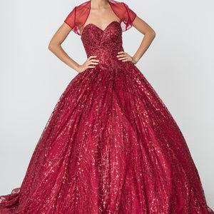 Burgundy Ballgown Sleeveless Dress